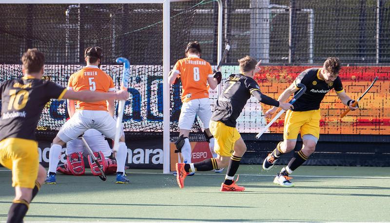 Den Bosch viert met Jelle Galema de 1-0 van Lodewijks. De voorsprong was verdiend, maar werd niet vast gehouden.