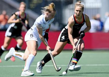 Charlotte Englebert in actie voor België op het EK Hockey 2021