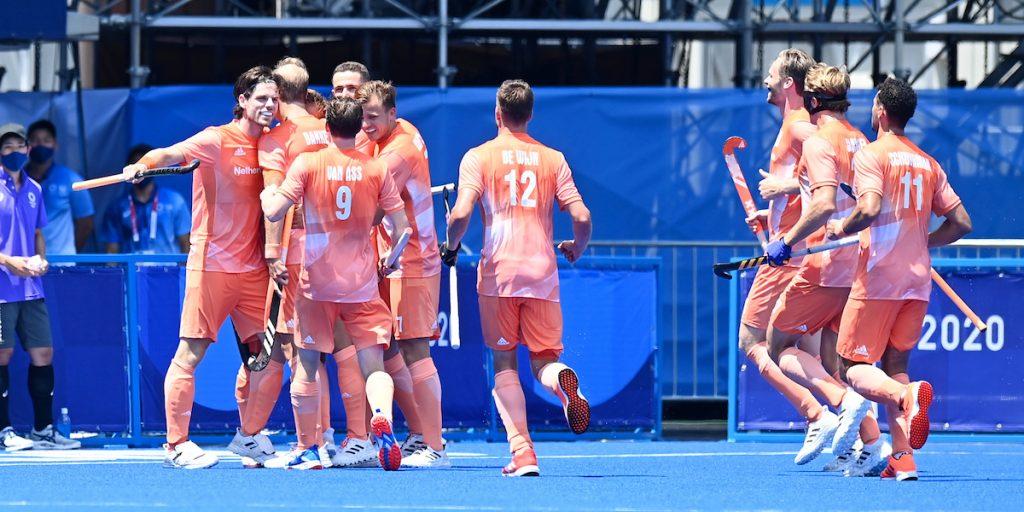 Jeroen Hertzberger zorgt voor de openingstreffer van het Nederlands elftal.