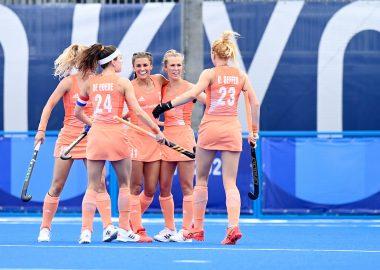 Nederland viert feest in de wedstrijd tegen Ierland op de Olympische Spelen